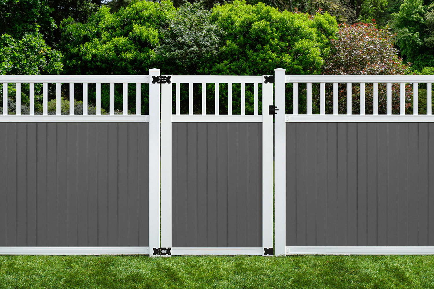 Sixth Avenue Building Products Spindle Top Fence and Gate - Gray/White