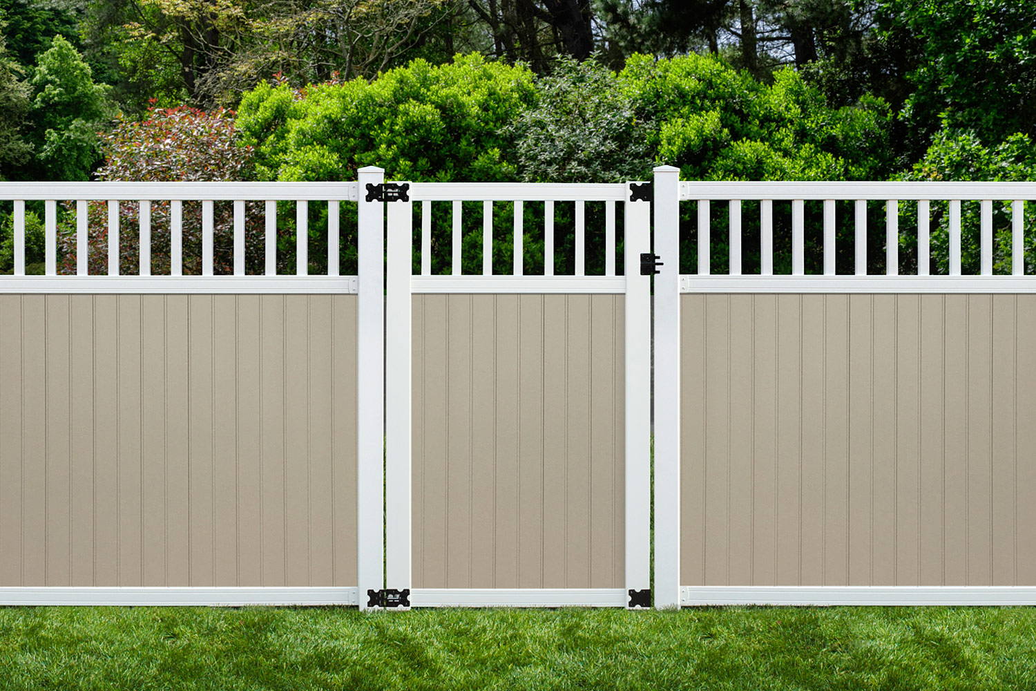 Sixth Avenue Building Products Spindle Top Privacy Fence and Gate - Tan-White