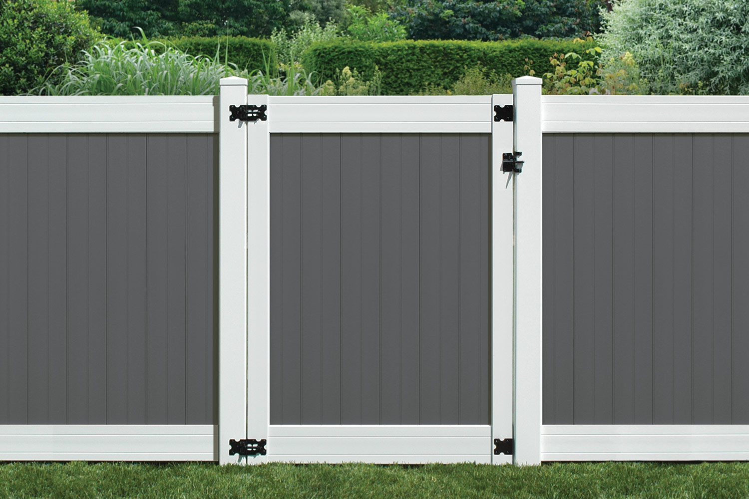 Sixth Avenue Building Products Wexford Privacy Fence and Gate - Gray-White
