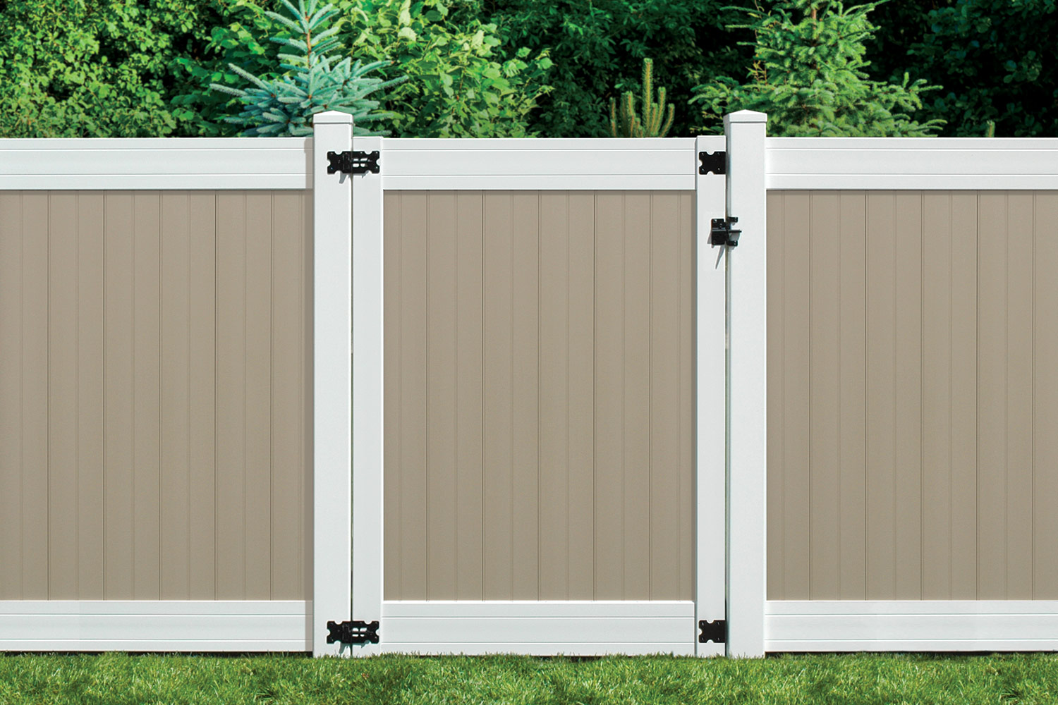 Sixth Avenue Building Products Wexford Privacy Fence and Gate - Tan-White